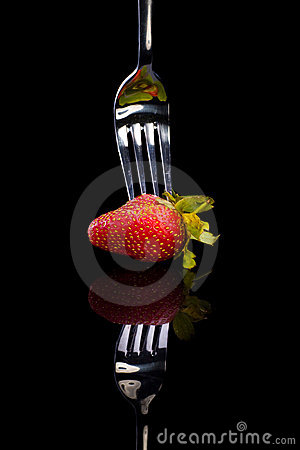 Strawberry on the fork.