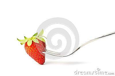 Strawberry on fork