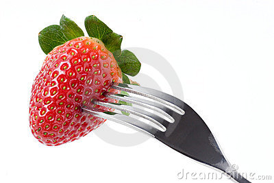 Strawberry with fork