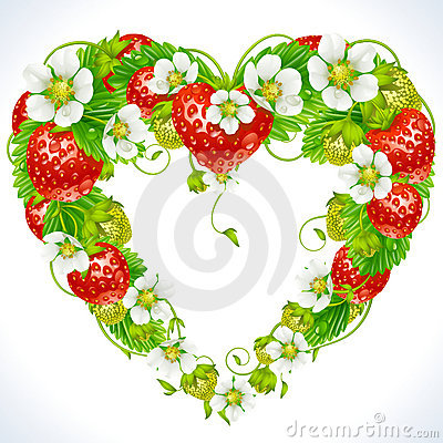 Strawberry frame in the shape of heart