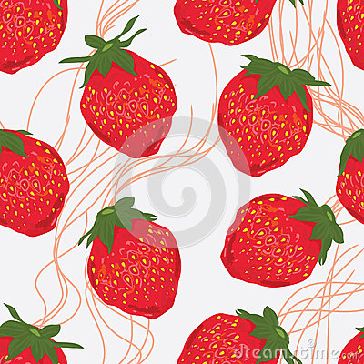 Free Strawberry Fruit Line Seamless Pattern Royalty Free Stock Images - 50778099
