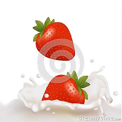 Strawberry fruits falling into the milky splash