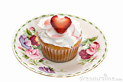 Strawberry Heart Cupcake