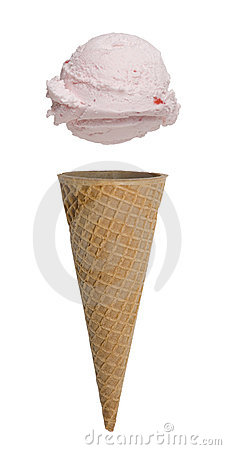 Strawberry Ice Cream Cone on White