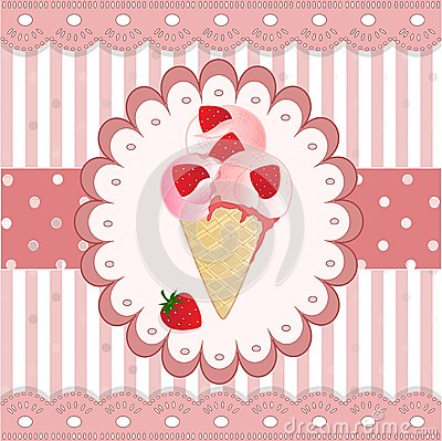 Free Strawberry Icecream On The Pink Background Stock Images - 40283494