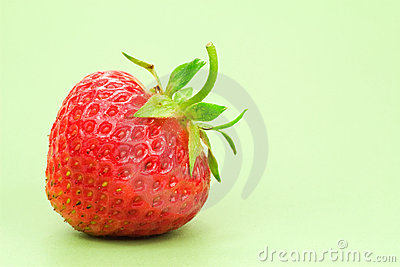 Strawberry isolated on green background