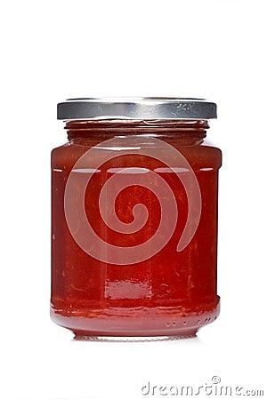Strawberry jam glass jar