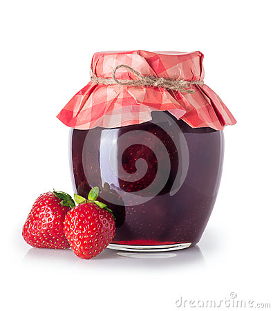 Free Strawberry Jam In Jar Isolated Stock Photography - 94664152