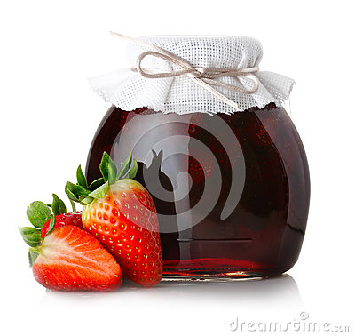 Free Strawberry Jam With Ripe Strawberries On White Royalty Free Stock Images - 29412669
