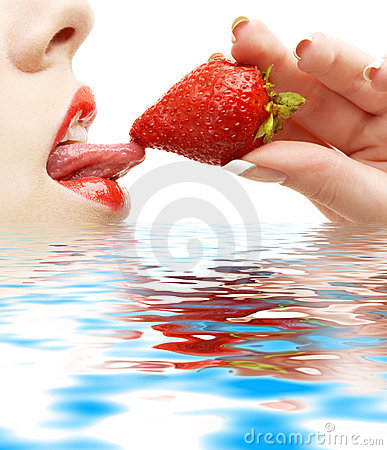 Free Strawberry, Lips And Tongue In Stock Photo - 2797710