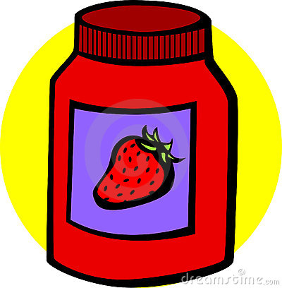 Strawberry marmalade jar vector illustration