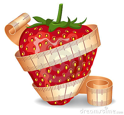 Strawberry In A Measuring Tape Royalty Free Stock Images - Image: 14490839