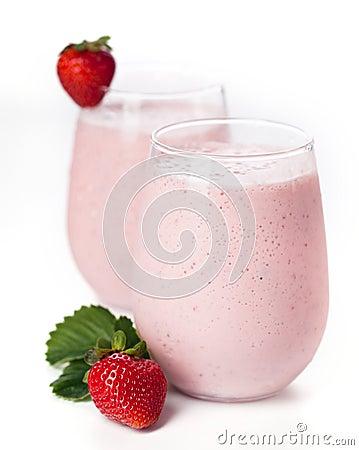 Strawberry milk cocktail