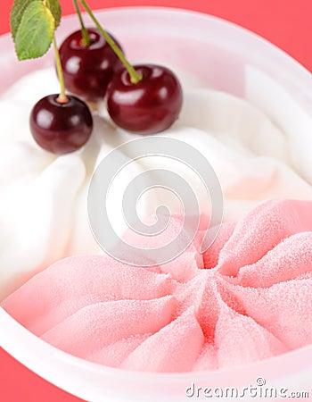 Strawberry and milk ice cream