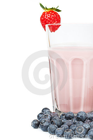 Strawberry milkshake with blue