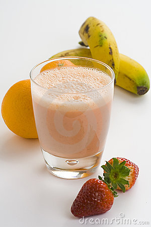 Strawberry orange banana milkshake natural
