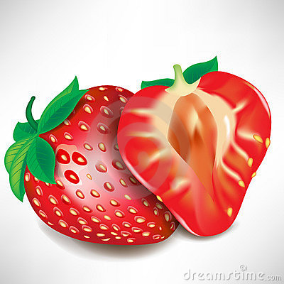 Strawberry piece and full fruit