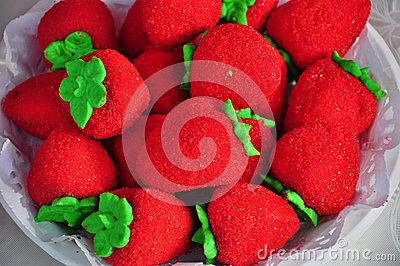 Strawberry shaped biscuits