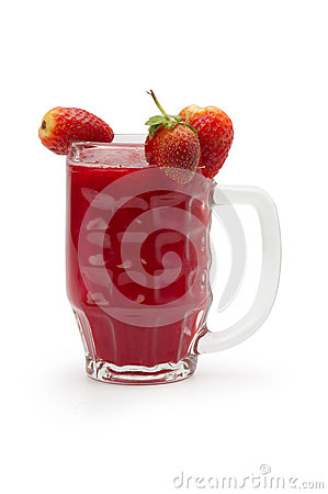 Strawberry smoothie isolated on white in glass