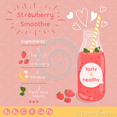 Free Strawberry Smoothie Recipe. Royalty Free Stock Photos - 45570078