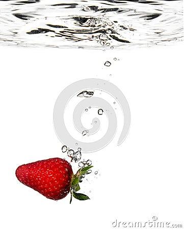 Strawberry splash in water
