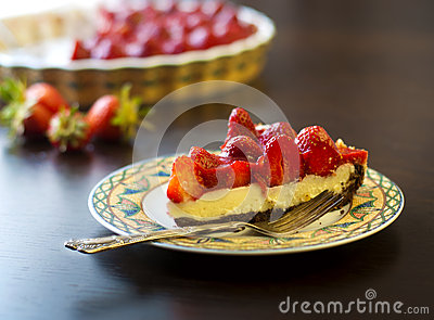 Strawberry tart cake with cream filling and baking mold Stock Photo