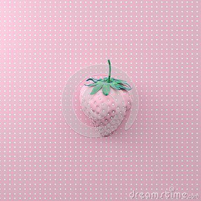 Free Strawberry With Dot White On Point Pattern Pink Background. Mini Stock Photography - 105634132