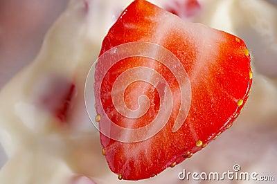Strawberry in yoghurt