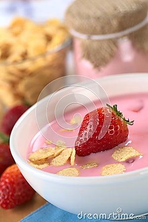 Free Strawberry Yogurt Royalty Free Stock Image - 45355696