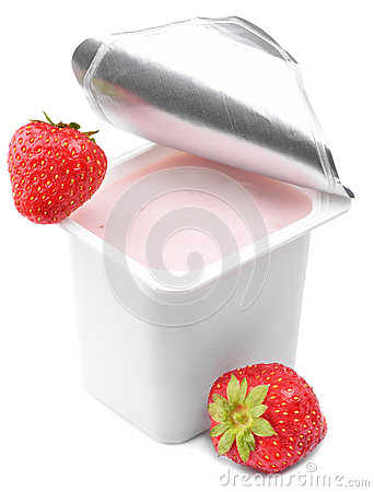 Strawberry yogurt in opened yoghurt pot