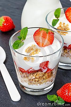 Free Strawberry Yogurt Yoghurt Strawberries Fruits Cup Muesli Portrai Stock Photos - 104255453