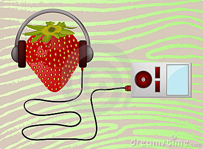 Strawbery listening music player