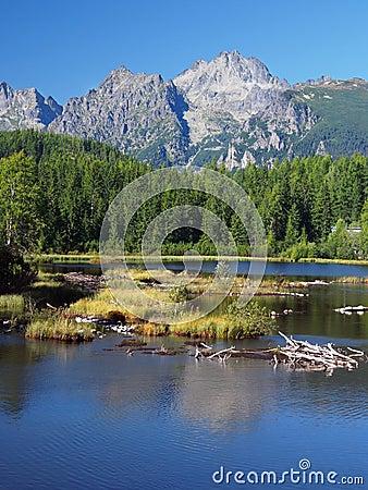 Strbske Pleso in Slovak High Tatras at summer