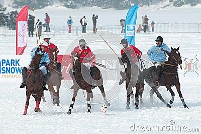 STRBSKE PLESO, SLOVAKIA - FEBRUARY 7: Polo on snow Editorial Stock Photo