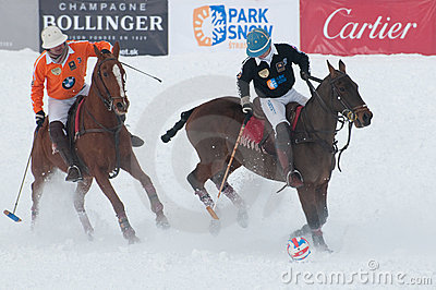 STRBSKE PLESO, SLOVAKIA - FEBRUARY 7: Polo on snow Editorial Image