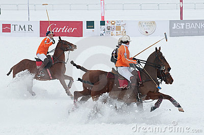 STRBSKE PLESO, SLOVAKIA - FEBRUARY 7: Polo on snow Editorial Stock Image