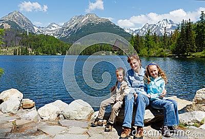 Strbske Pleso (Slovakia) spring view and family