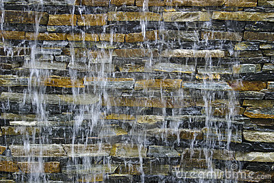 Stream on a brick wall