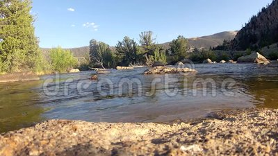 Stream flowing in summer. A clear stream flowing through granite rocks and scenery in the Wyoming summer with wind blowing through the trees stock video footage