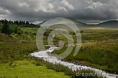 Stream in landscape leads to mountains in distance