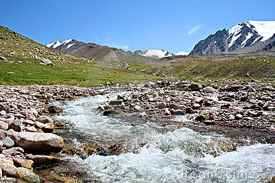 Stream of mountain river in North Tien-Shan