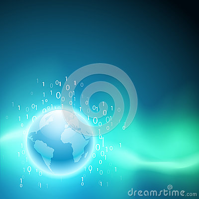 Free Stream Of Binary Code To The Globe. Stock Image - 45020071