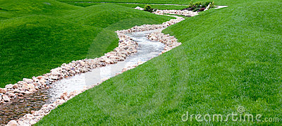 A stream and park