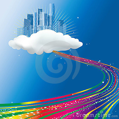 Stream of rainbow  flowing to a city on cloud