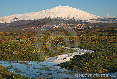 Stream And Snowcovered Mount Etna