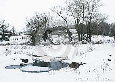 Stream in winter village