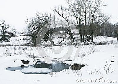 Stream in winter village