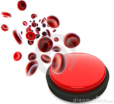 Streaming blood cells and red button