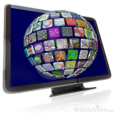 Streaming Content Icons on HDTV Television Screens
