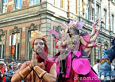 Street actors play scene Editorial Photo